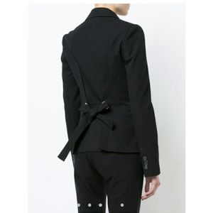 DEREK LAM Single Button Blazer Grommet Bac…